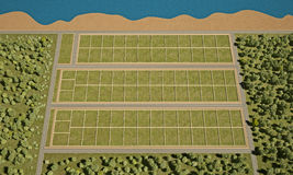 Field for settlement view from above 3d rendering Stock Photography