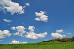 Field and sky. Green field with clouds on blue sky Stock Photo