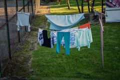 Laundry dries stock image