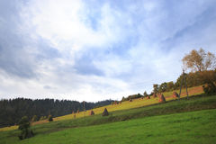 Field on a Slope. Rural field on a mountain slope with haystacks in Ukrainian Carpathians Royalty Free Stock Photo