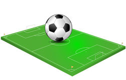 Field soccer. Illustration of soccer field with giant ball Stock Image