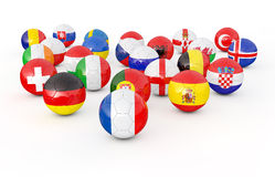 Field of soccer balls. 3D illustration Stock Photo