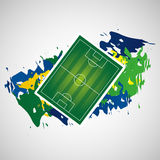 Field soccer olympic games brazilian flag colors Stock Image