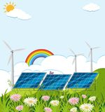 Field with solar cell and wind turbines. Illustration Stock Images