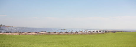 Field with Solar Panels. A panoramic photograph of a green field with a large array of solar panels Royalty Free Stock Image