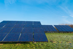 Field with solar panels Royalty Free Stock Photo