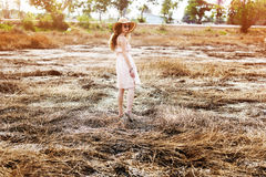 Field Solitude Tranquil Woman Journey Explore Concept Stock Photography
