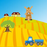 Field with sowing. Rural terrain and tractor in field.Vector illustration Stock Image