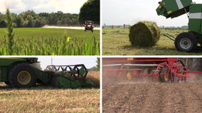 Field spray. Grass bales. Harvesting. Fertilize. Clips collage stock video