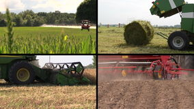 Field spray. Grass bales. Harvesting. Fertilize soil. Collage stock footage