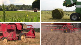 Field spray. Sodder bales. Harvesting. Fertilize. Clips collage stock video
