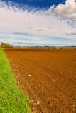 Field. Spring Plowed Field- Belgian Landscape Stock Photo