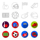 Field, stadium with markings for playing football, football ball, racket with a ball for ping-pong, protective helmet. For the game,glove for baseball or rugby Royalty Free Stock Images