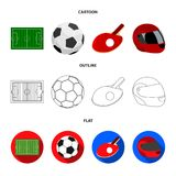 Field, stadium with markings for playing football, football ball, racket with a ball for ping-pong, protective helmet. Field, stadium with markings for playing Stock Images