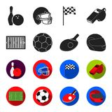 Field, stadium with markings for playing football, football ball, racket with a ball for ping-pong, protective helmet. For the game,glove for baseball or rugby Stock Photos