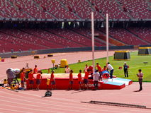 The field staff arranged the facilities of the pole vault Royalty Free Stock Image