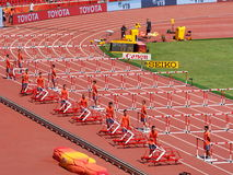 The field staff took down the hurdles Stock Photos