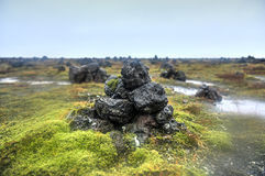 Field of Stone Cairns at Laufskalavarda, Iceland Royalty Free Stock Photos
