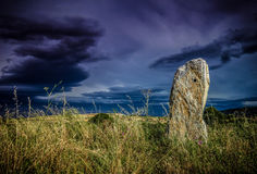 Field with stone monolith in tarazona Spain Stock Images