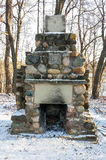 Field stone outdoor fireplace Royalty Free Stock Image