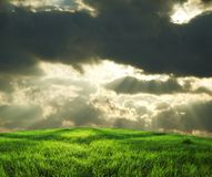 Field and storm clouds Royalty Free Stock Image