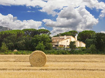 Field with a straw roll and house Royalty Free Stock Photo