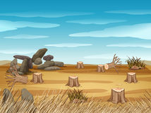Field with stump trees. Illustration Royalty Free Stock Images