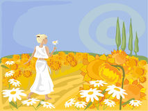 Field of sunflowers. Hand drawn illustration of a blonde woman walking barefoot through a field of sunflowers Royalty Free Stock Image