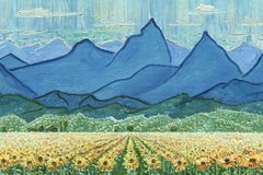 Field of sunflowers and mountains. Oil Painting on canvas. Field of sunflowers and mountains. Sunny day. A blue sky with light clouds. Rough texture of large Royalty Free Stock Photos