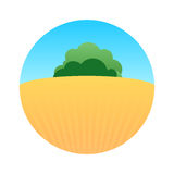 Field at Sunny Day. Rural Farm Landscape Illustration with Field at Sunny Day. Round Vector Emblem Stock Photography