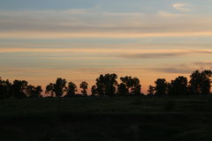 Field Sunset. Pink sunset in the field Royalty Free Stock Image