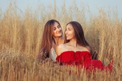 There are two women in the field. Stock Images