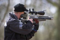 Field Target Shooter. Target shooter taking shot in a competition Royalty Free Stock Photography
