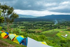 Field Tent of the tourists on the mountain at Khao Takhian Ngo. stock image