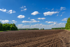 Field tillage agriculture sky. Beautiful rural landscape with plowed brown field and green trees on the edge of the field on a background of blue sky and clouds Stock Photography