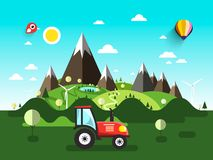 Field with Tractor. Flat Design Landscape stock illustration