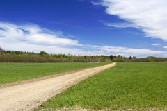 Field with tractor track Royalty Free Stock Photo