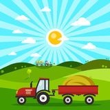 Field with Tractors. Tractor on Meadow. Vector Flat Design Nature Cartoon Stock Photo