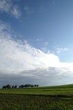 Field, trees & sky. Landscape in upper austria royalty free stock image