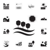 field with trees and sun icon. Detailed set of landscapes icons. Premium graphic design. One of the collection icons for websites vector illustration