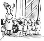 Field Trip. Black and white education cartoon about a field trip to the big city Royalty Free Stock Photography