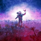The field trip. 3D illustration of astronaut encountering butterfly in alien landscape Stock Images