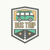 Field trip emblem. Vector illustration of sign with bus and road and field trip words Stock Image