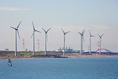 field turbines wind yellow Arkivfoton