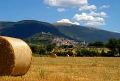 Field in Umbria. Yellow hay roll, field in Umbria, Italy, fortress on the hill, summer time, sunny day, blue sky with clouds Stock Photo