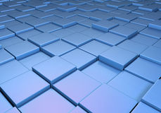Field of uneven blue tiles. Field of reflective metallic blue tiles at different heights Royalty Free Stock Images