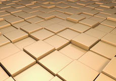Field of uneven gold tiles. Field of reflective metallic gold tiles at different heights Royalty Free Stock Image