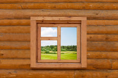 Field is visible from a window Stock Photography