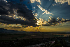 Hafl light half dark sky Stock Image
