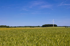 Field, wind engine and a blue sky. The picture shows a landscape consisting of a field, a wind engine and a blue sky royalty free stock photo